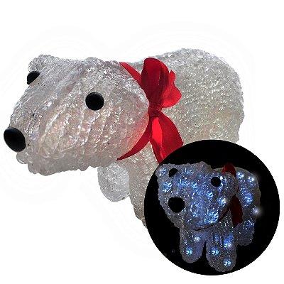 Enfeite Natalino Urso De Acrílico Led 8 Funções Para Mesas e Decorações