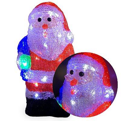 Papai Noel Acrílico 40 Leds Pisca 8 Funções Enfeite Natal Para Mesas