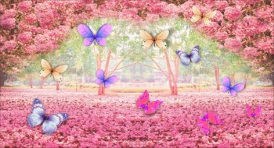 Painel 3D Borboletas no Jardim Encantado