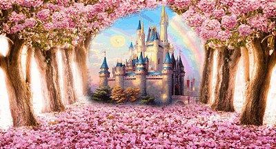 Painel de Lona 3D Floresta Rosa Encantada