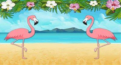 Painel de Festa Tropical Flamingo