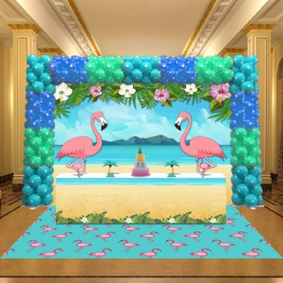 Kit Festa 3D Tropical - Flamingo