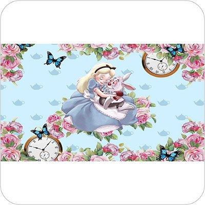 Painel de Festa Infantil Alice no País das Maravilhas - Alice e o Coelho Branco