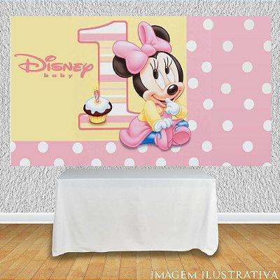 Painel de Festa Infantil Baby Disney - Minnie 1 Ano