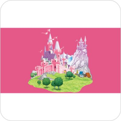 Painel de Festa Infantil Castelos Disney - Fundo Rosa