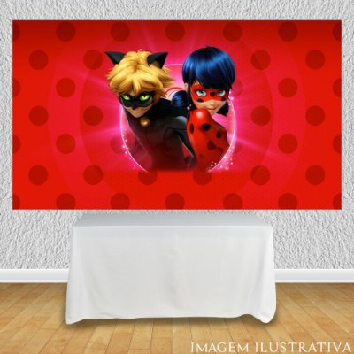 Painel de Festa Infantil Miraculous Ladybug Marinette e Cat Noir II
