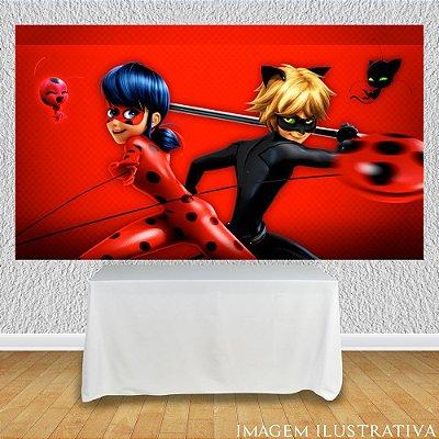 Painel de Festa Infantil Miraculous Ladybug Marinette e Cat Noir III