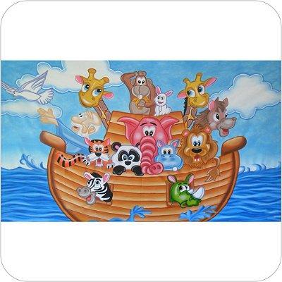 Painel de Festa Infantil Arca de Noé - Aquarela