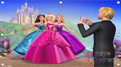 Painel para decoração de festa infantil - Barbie escola de princesas