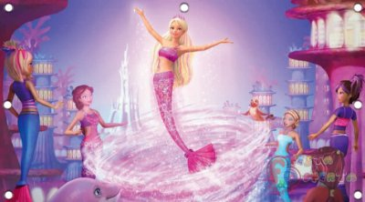 Painel para decoração de festa infantil - Barbie vida de sereia