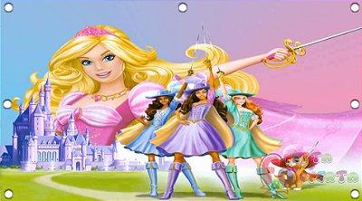 Painel para decoração de festa infantil - Barbie Três Mosqueteiras