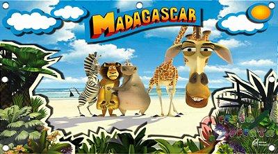 Painel para decoração de festa infantil - Madagascar