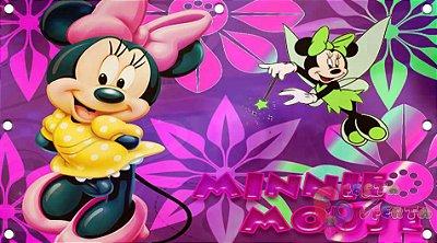 Painel de Festa Minnie Mouse Fada com Fundo Roxo
