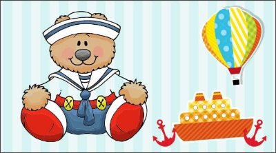 Painel para decoração de festa infantil - Ursinho Marinheiro