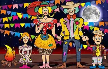 Painel para decoração de festa infantil  - Família na Festa Junina