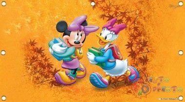 minnie rosa e sua amiga fundo laranja painel infantil