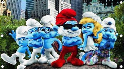 Painel para decoração de festa infantil - Smurfs