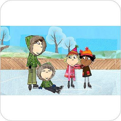 Painel de Festa Infantil Charlie e Lola Patinando no Gelo