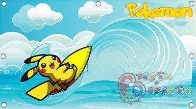 Painel de Festa Pokemon Pikachu Surfando