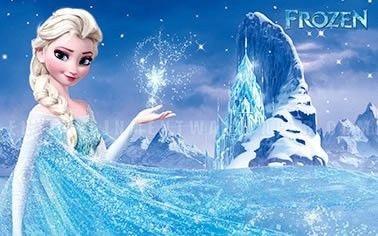 Decoração Frozen Elsa nas montanhas painel infantil