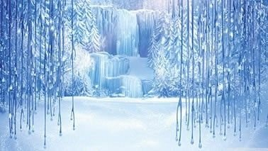 Painel de Aniversario Frozen Fundo em Cachoeira e Neve