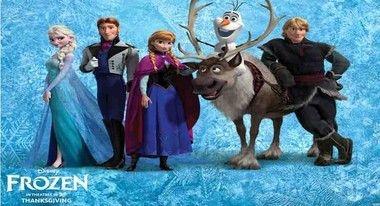 Painel de Festa Frozen turma toda com fundo azul infantil