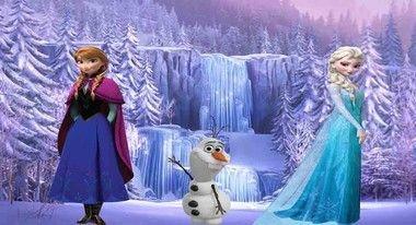Elsa Ana e Olaf fundo de paisagem painel infantil