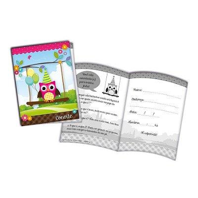 Convites Corujinha - embalagem com 8 unidades | Festcolor