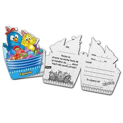 Convites Galinha Pintadinha azul - embalagem com 8 unidades | Festcolor