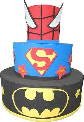 Bolo Cenografico Herois - Batman, Spider Man e Super Man