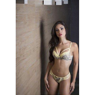 Conjunto Amarelo Bojo Sensual Microfibra e Renda - Garota Veneno
