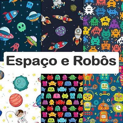 Tecido Impermeável PUL Estampado - Espaço e Robôs