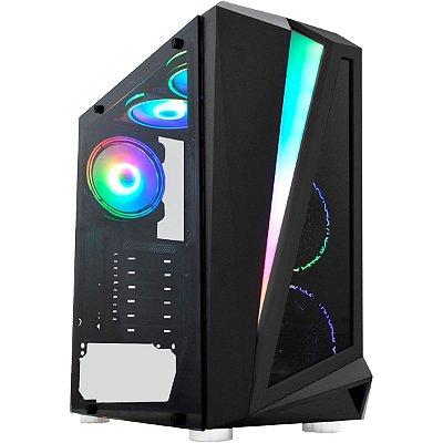 GABINETE GAMER K-MEX CG-05QI BLACK HAWK, PAINEL LED RGB, LATERAL DE VIDRO, PRETO, S/FAN - CG05QIRH0010BOX