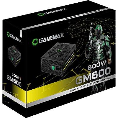 FONTE DE ALIMENTAÇÃO GAMEMAX GM600  ATX 600W REAIS