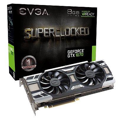 PLACA DE VÍDEO GTX 1070 8GB DDR5 256BITS EVGA ACX3 SUPERCLOCKED