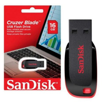 PEN DRIVE SANDISK CRUZER BLADE 16GB, USB 2.0 - SDCZ50-016G-B35