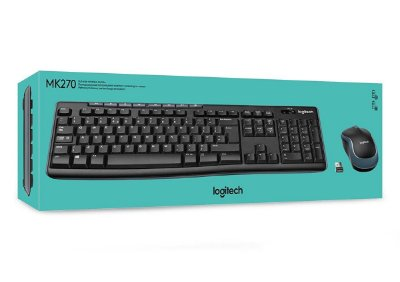 KIT TECLADO E MOUSE LOGITECH MK270 USB WIRELESS PRETO