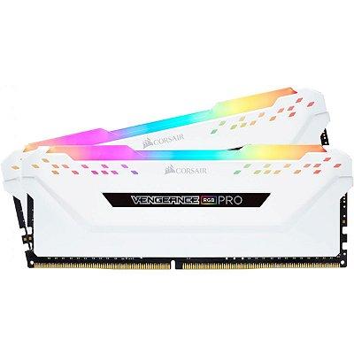 MEMORIA CORSAIR VENGEANCE RGB PRO 16GB (2X8) 2666MHZ DDR4 BRANCA - CMW16GX4M2A2666C16W