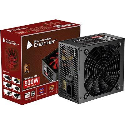 FONTE BLUECASE GAMER 500W, 80 PLUS BRONZE, ATX, BLU 500R-B