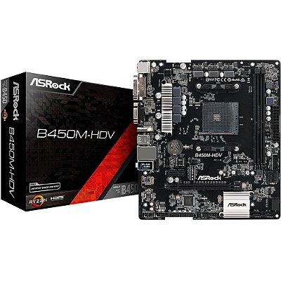 Placa-Mãe B450M-HDV ASRock para AMD AM4 mATX DDR4