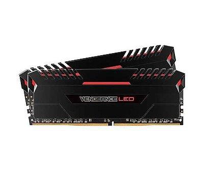 MEMÓRIA CORSAIR VENGEANCE LED VERMELHO 16GB (2X8) 2666MHZ DDR4