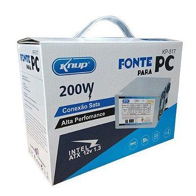 Fonte ATX PC 200W REAIS KNUP - KP-517