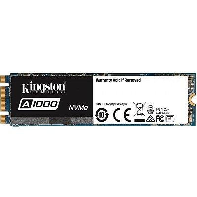 SSD KINGSTON A1000 240GB M.2 NVMe, LEITURA 1500MB/s, GRAVAÇÃO 800MB/s, SA1000M8/240G
