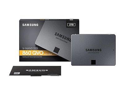 SSD SAMSUNG 860 QVO 2TB,  SATA III, LEITURA 550MBS E GRAVAÇÃO 520MBS, MZ-76Q2T0B-AM