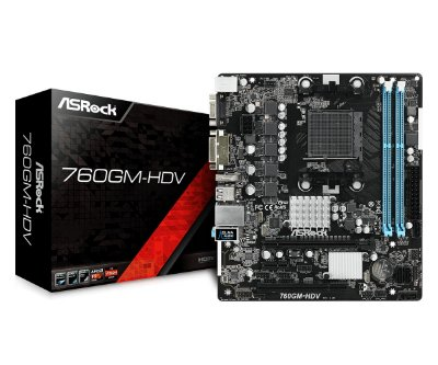 PLACA MÃE 760GM-HDV ASROCK, AMD Socket AM3 + / AM3, 90-MXB7U0-A0UAYZ