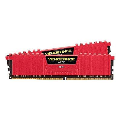 MEMÓRIA CORSAIR VENGEANCE LPX 8GB (2X4) 2666MHZ, DDR4, VERMELHA, CMK8GX4M2A2666C16R