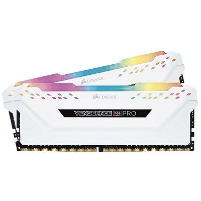 MEMÓRIA CORSAIR VENGEANCE RGB PRO 32GB (2X16GB) 3200MHz, DDR4, BRANCA, CMW32GX4M2C3200C16W