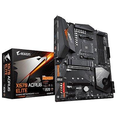 PLACA MÃE GIGABYTE X570 AORUS ELITE, AMD AM4, ATX, DDR4