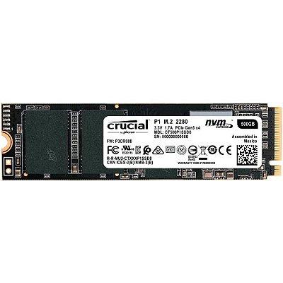 SSD CRUCIAL P1 500GB, M.2 NVMe, LEITURA 1900MB/s, GRAVAÇÃO 950MB/s - CT500P1SSD8