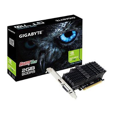 PLACA DE VÍDEO GIGABYTE GEFORCE GT 710 2GB GDDR5, SILENT 0dB, GV-N710D5SL-2GL
